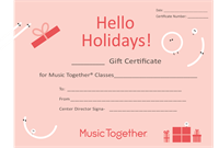 Gift Certificate for Music Together of Monroe Newtown